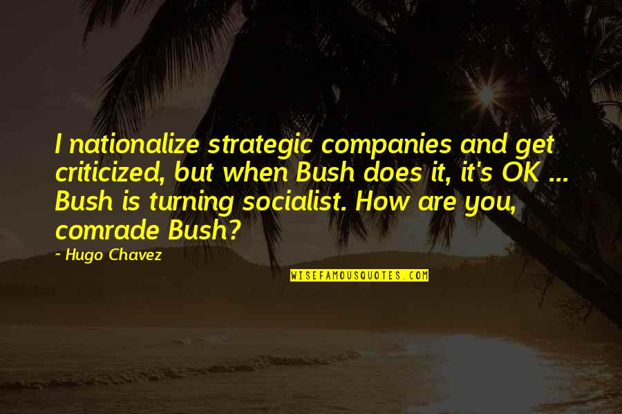 Socialist Quotes By Hugo Chavez: I nationalize strategic companies and get criticized, but