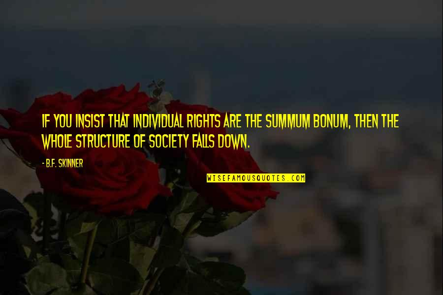 Society Individual Quotes By B.F. Skinner: If you insist that individual rights are the