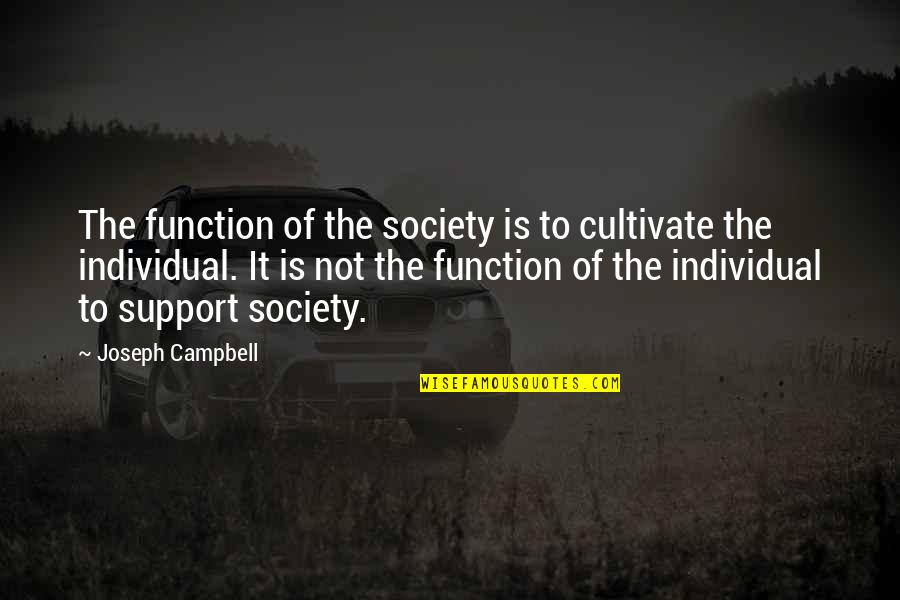 Society Individual Quotes By Joseph Campbell: The function of the society is to cultivate