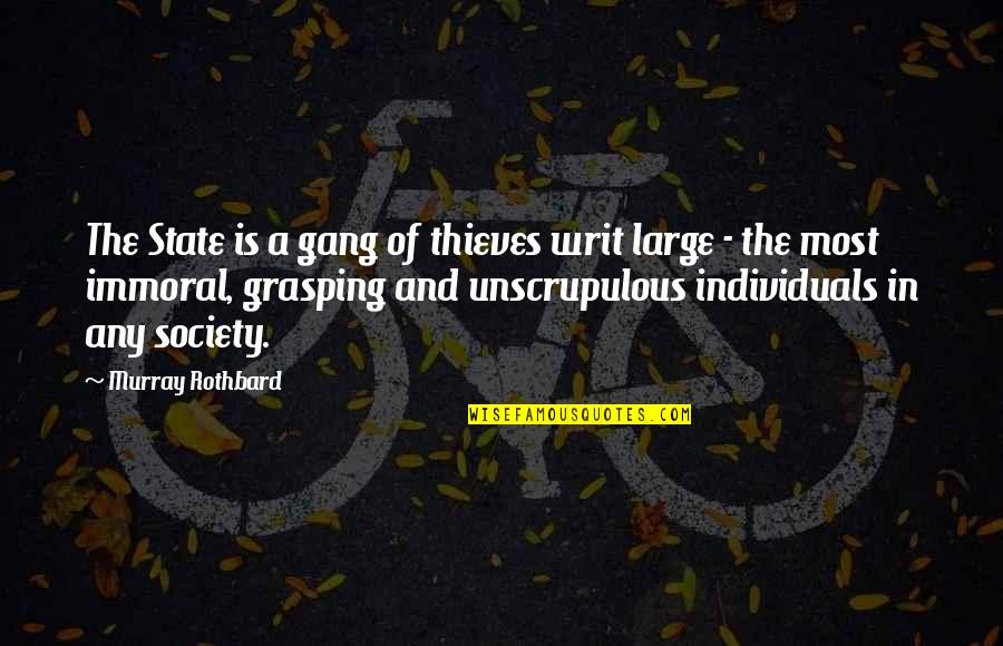 Society Individual Quotes By Murray Rothbard: The State is a gang of thieves writ
