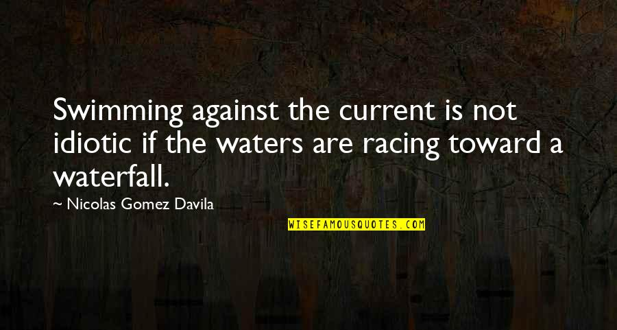 Society Individual Quotes By Nicolas Gomez Davila: Swimming against the current is not idiotic if