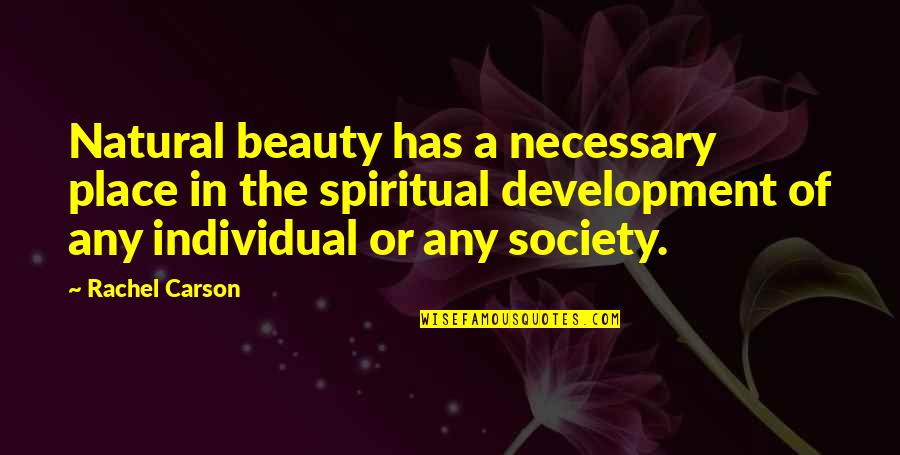 Society Individual Quotes By Rachel Carson: Natural beauty has a necessary place in the
