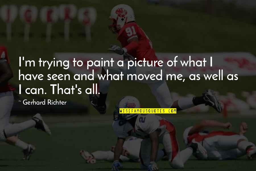 Sodium Diet Quotes By Gerhard Richter: I'm trying to paint a picture of what