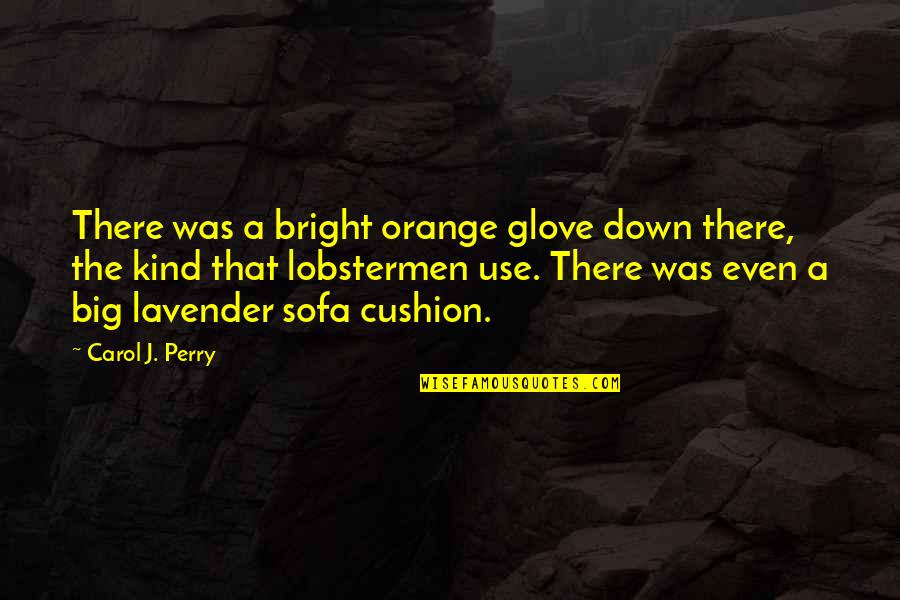 Sofa Quotes By Carol J. Perry: There was a bright orange glove down there,