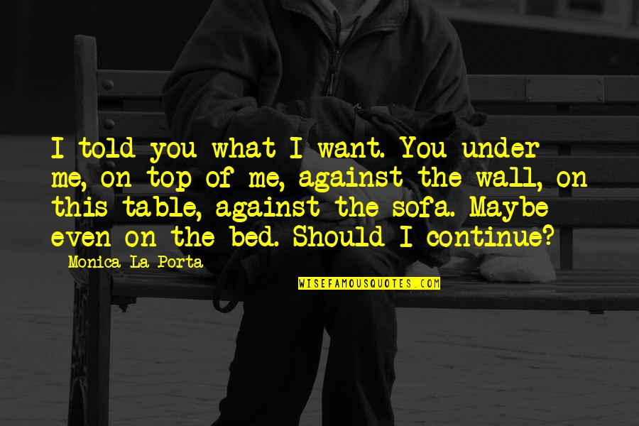 Sofa Quotes By Monica La Porta: I told you what I want. You under