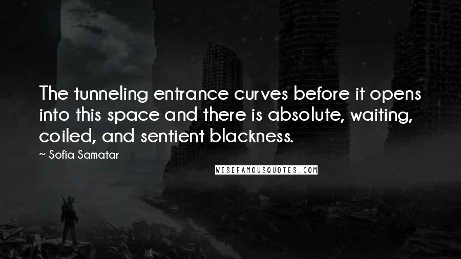 Sofia Samatar quotes: The tunneling entrance curves before it opens into this space and there is absolute, waiting, coiled, and sentient blackness.