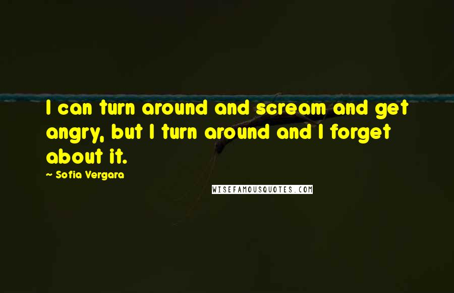 Sofia Vergara quotes: I can turn around and scream and get angry, but I turn around and I forget about it.