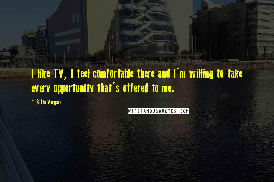 Sofia Vergara quotes: I like TV, I feel comfortable there and I'm willing to take every opportunity that's offered to me.