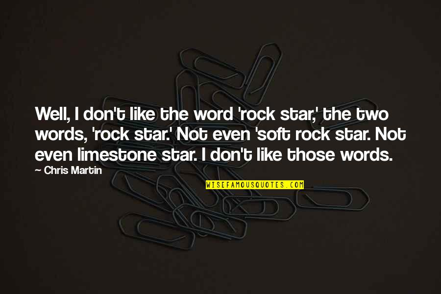Soft Words Quotes By Chris Martin: Well, I don't like the word 'rock star,'