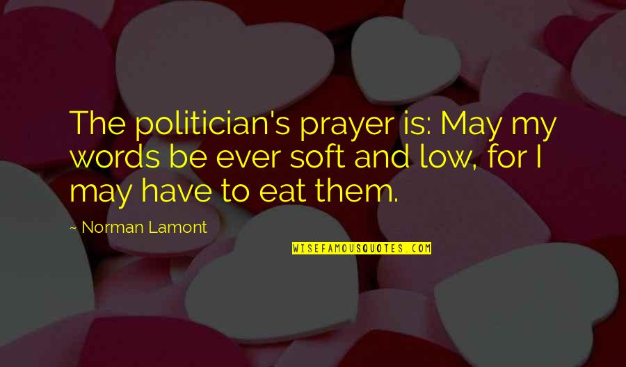 Soft Words Quotes By Norman Lamont: The politician's prayer is: May my words be