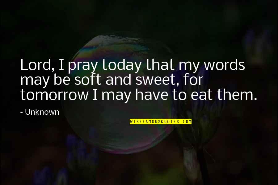 Soft Words Quotes By Unknown: Lord, I pray today that my words may