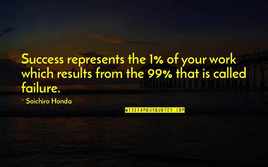 Soichiro Honda Quotes By Soichiro Honda: Success represents the 1% of your work which