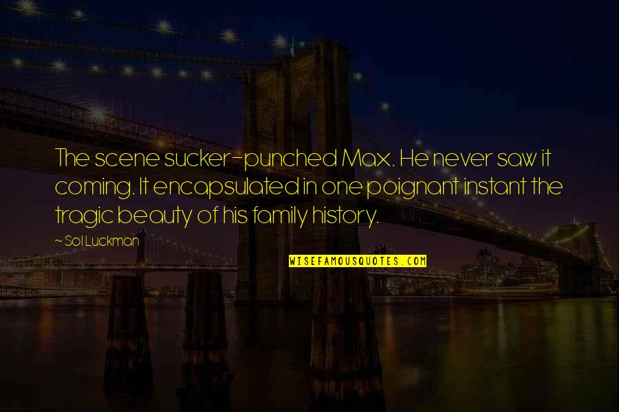 Sol Luckman Quotes By Sol Luckman: The scene sucker-punched Max. He never saw it