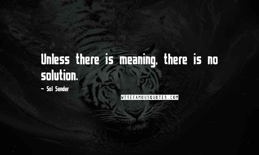 Sol Sender quotes: Unless there is meaning, there is no solution.