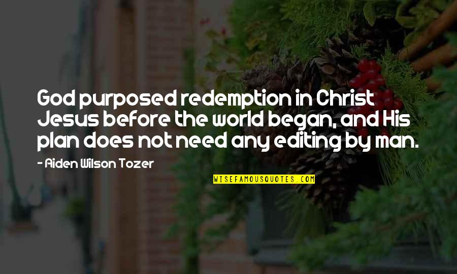 Soldier Born To Die Quotes By Aiden Wilson Tozer: God purposed redemption in Christ Jesus before the