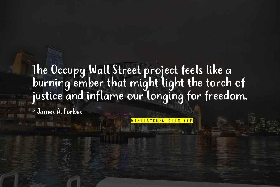 Solomon Akhtar Quotes By James A. Forbes: The Occupy Wall Street project feels like a