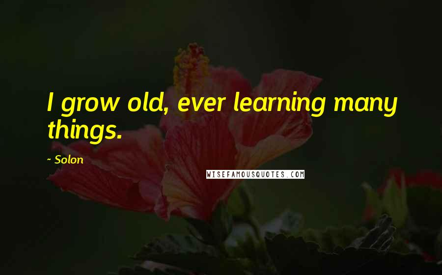 Solon quotes: I grow old, ever learning many things.