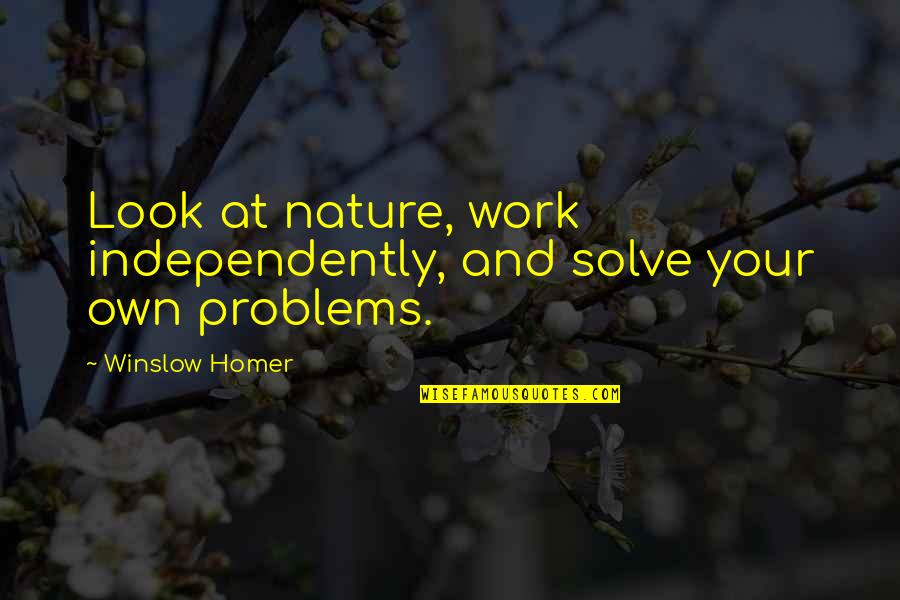 Solve Your Problems Quotes By Winslow Homer: Look at nature, work independently, and solve your