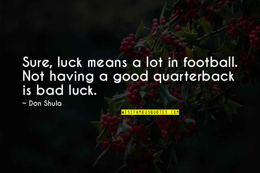 Some Bad Luck Quotes By Don Shula: Sure, luck means a lot in football. Not