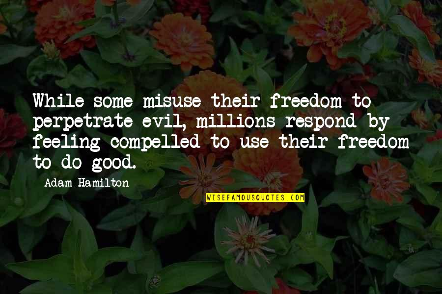 Some Good Feeling Quotes By Adam Hamilton: While some misuse their freedom to perpetrate evil,