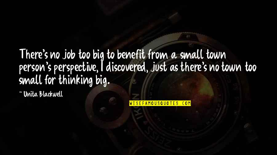 Some Gud Quotes By Unita Blackwell: There's no job too big to benefit from