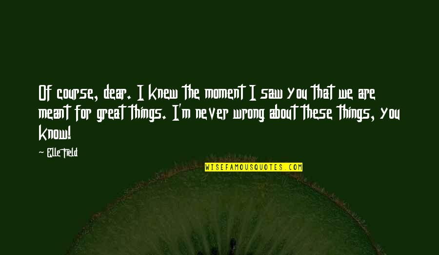 Some Things Were Not Meant To Be Quotes By Elle Field: Of course, dear. I knew the moment I