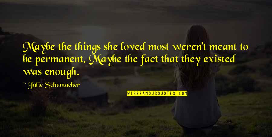 Some Things Were Not Meant To Be Quotes By Julie Schumacher: Maybe the things she loved most weren't meant