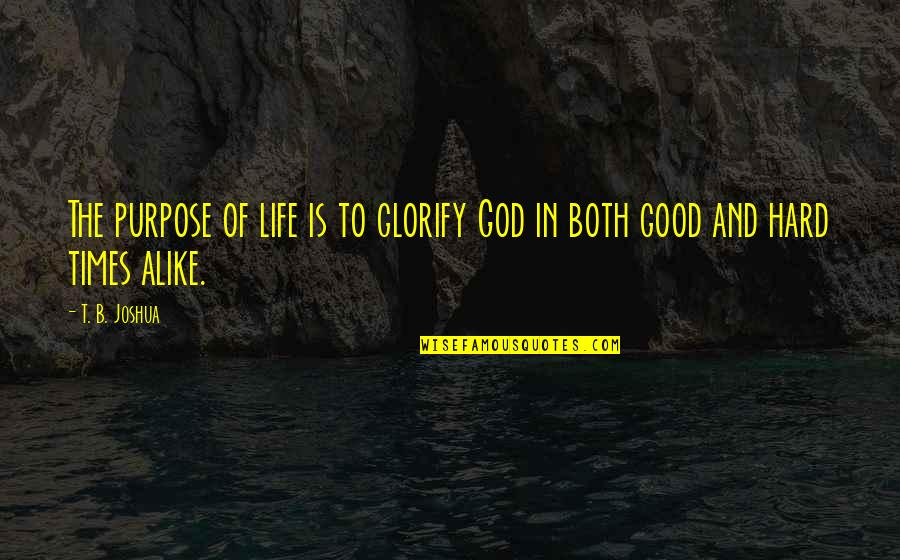 Someone Being Worse Off Quotes By T. B. Joshua: The purpose of life is to glorify God