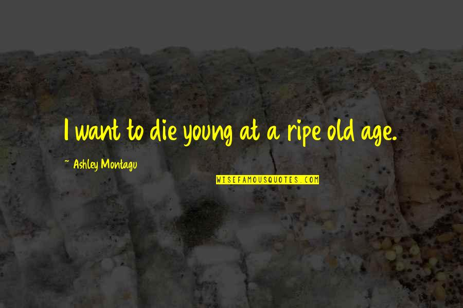Someone Regretting Losing You Quotes By Ashley Montagu: I want to die young at a ripe