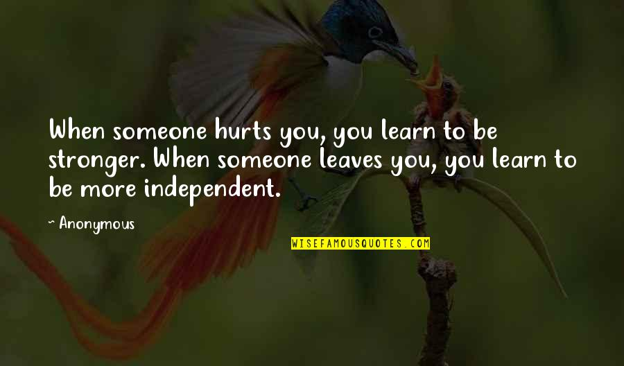 Someone That Hurts You Quotes By Anonymous: When someone hurts you, you learn to be
