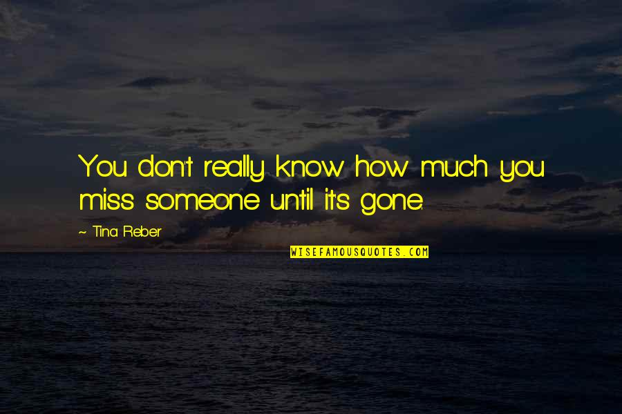 Someone That's Gone Quotes By Tina Reber: You don't really know how much you miss