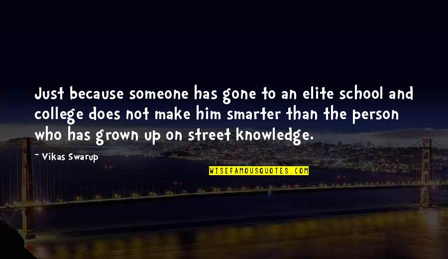 Someone That's Gone Quotes By Vikas Swarup: Just because someone has gone to an elite