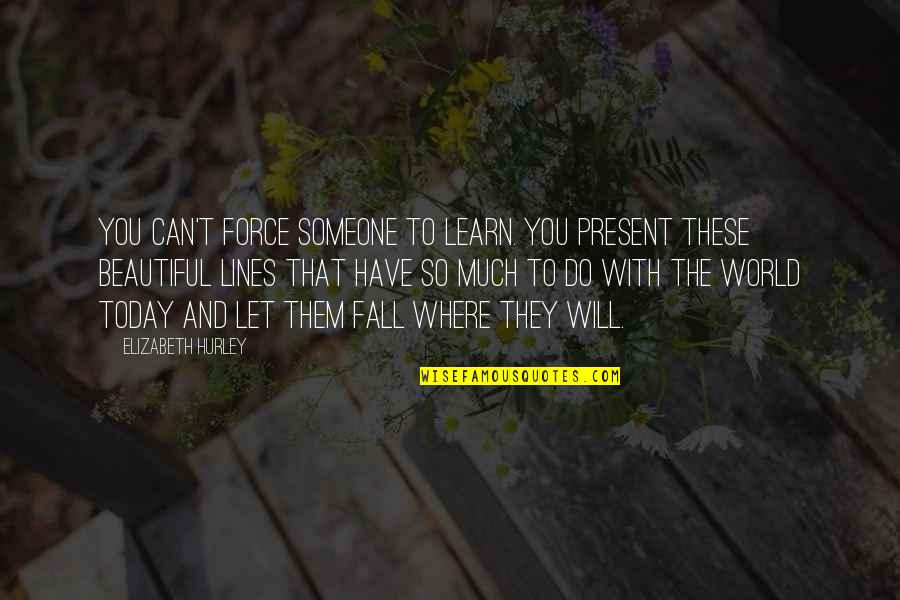 Someone You Can't Have Quotes By Elizabeth Hurley: You can't force someone to learn. You present