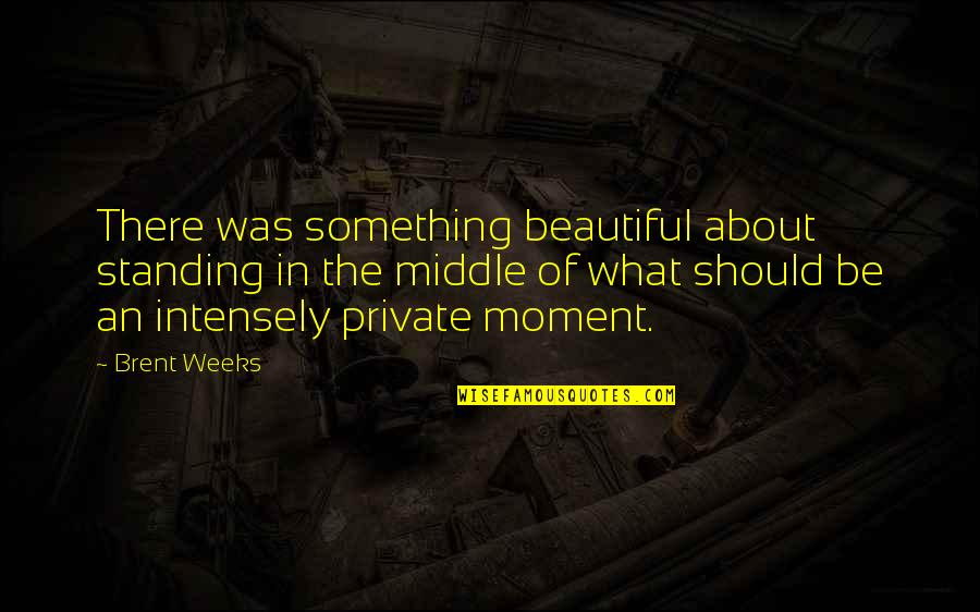 Something Beautiful Quotes By Brent Weeks: There was something beautiful about standing in the