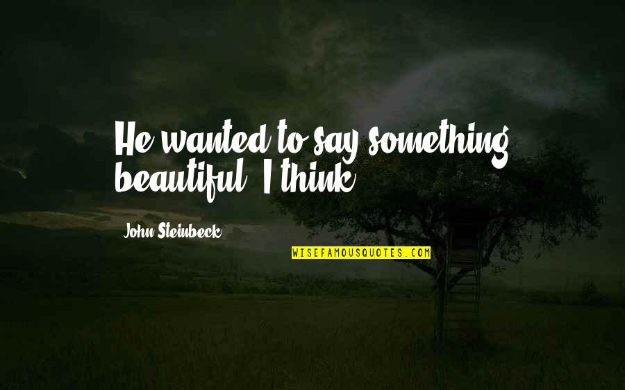 Something Beautiful Quotes By John Steinbeck: He wanted to say something beautiful, I think.