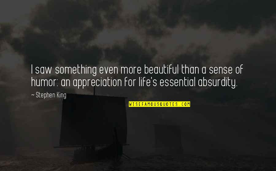Something Beautiful Quotes By Stephen King: I saw something even more beautiful than a