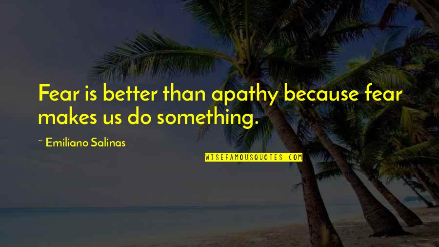 Something Better Quotes By Emiliano Salinas: Fear is better than apathy because fear makes