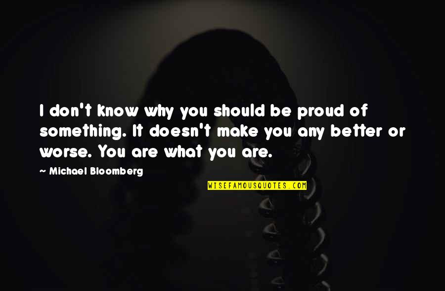 Something Better Quotes By Michael Bloomberg: I don't know why you should be proud