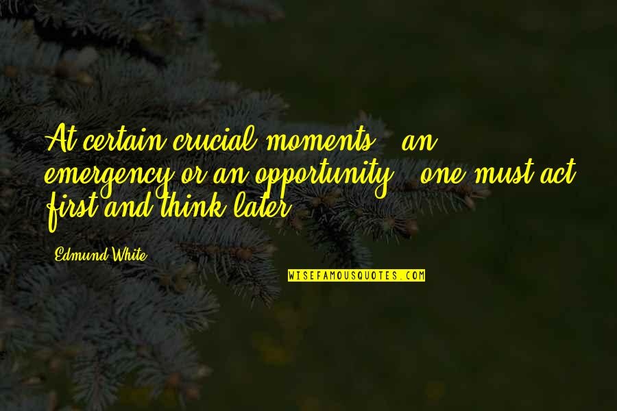 Something Bothering Quotes By Edmund White: At certain crucial moments - an emergency or