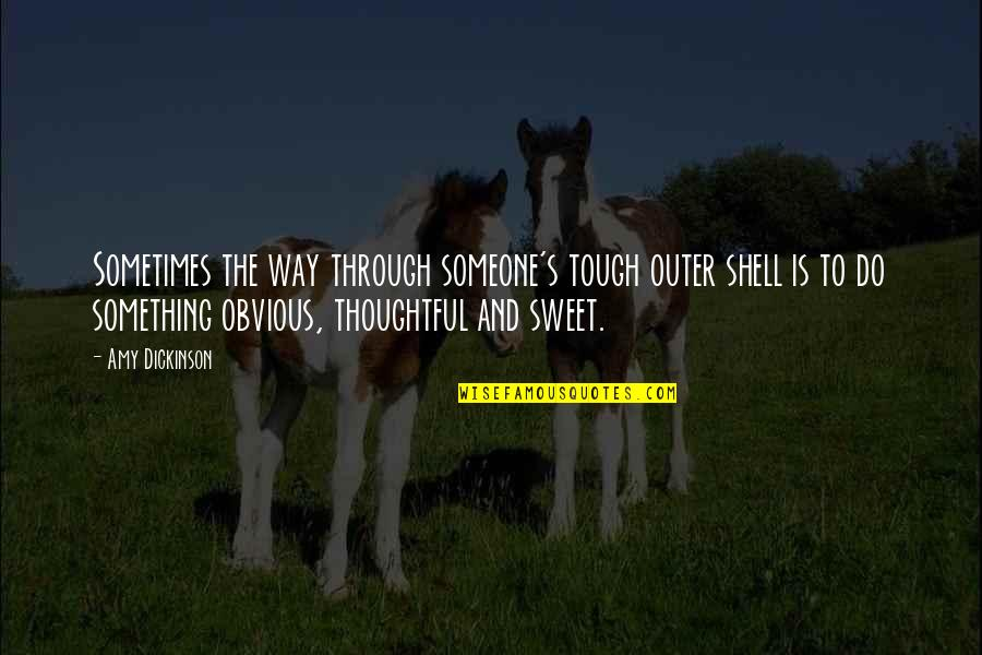 Something Obvious Quotes By Amy Dickinson: Sometimes the way through someone's tough outer shell