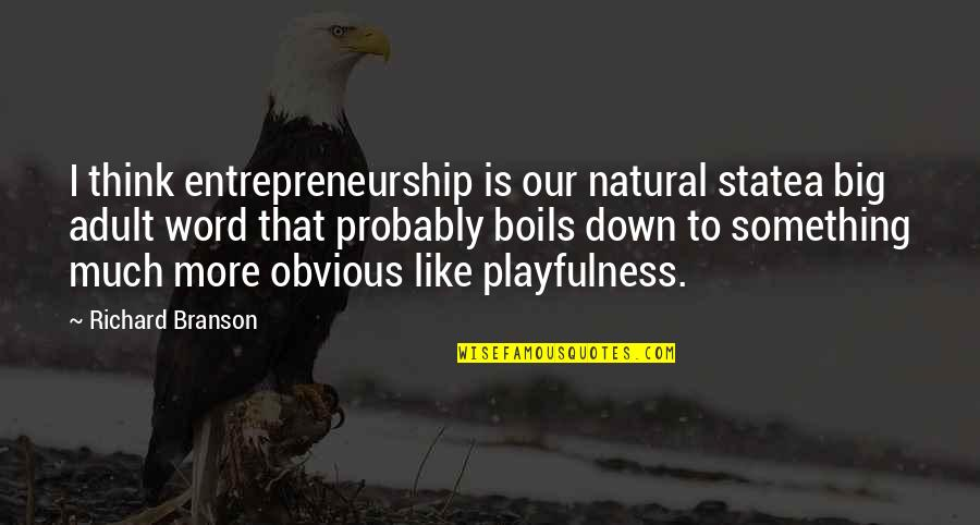 Something Obvious Quotes By Richard Branson: I think entrepreneurship is our natural statea big