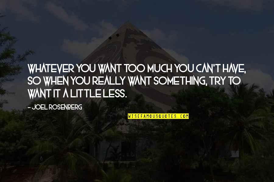 Something You Want But Can't Have Quotes By Joel Rosenberg: Whatever you want too much you can't have,