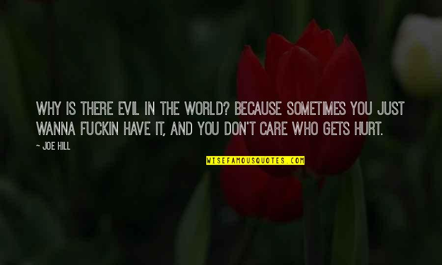 Sometimes I Just Wanna Quotes By Joe Hill: Why is there evil in the world? Because