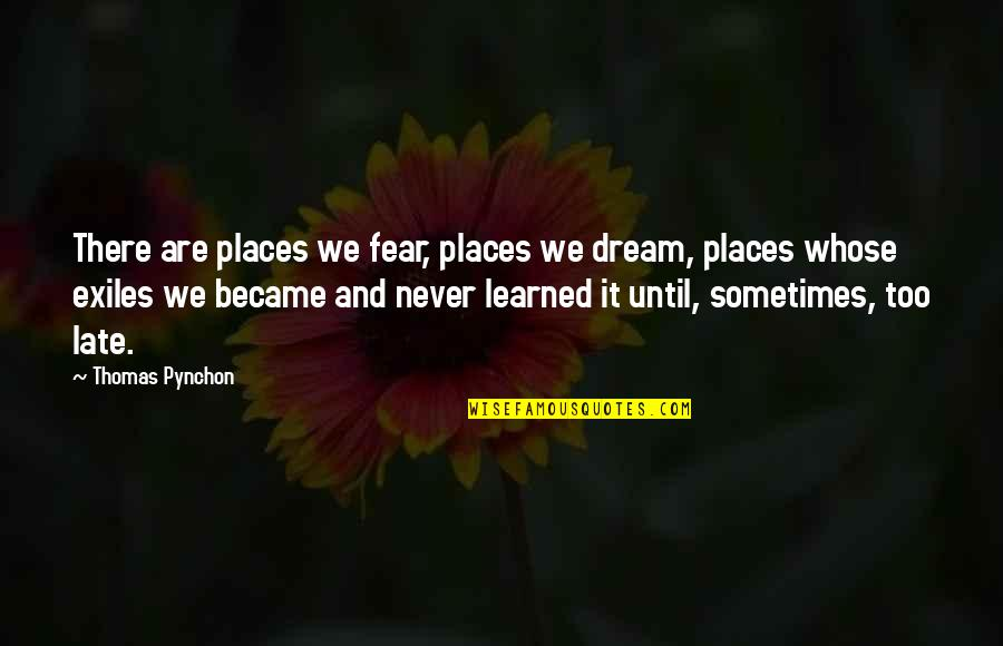 Sometimes It's Now Or Never Quotes By Thomas Pynchon: There are places we fear, places we dream,