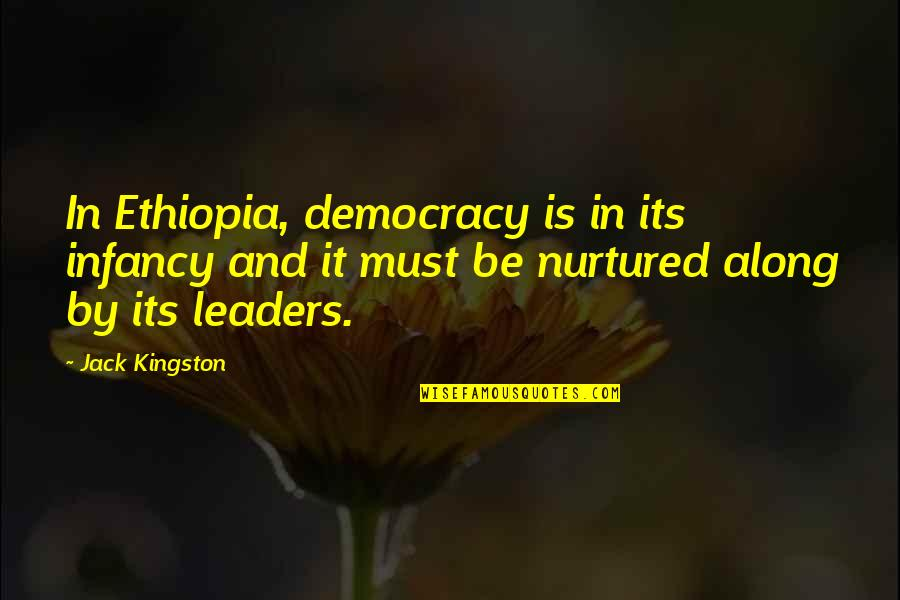 Sometimes Life Changes Quotes By Jack Kingston: In Ethiopia, democracy is in its infancy and