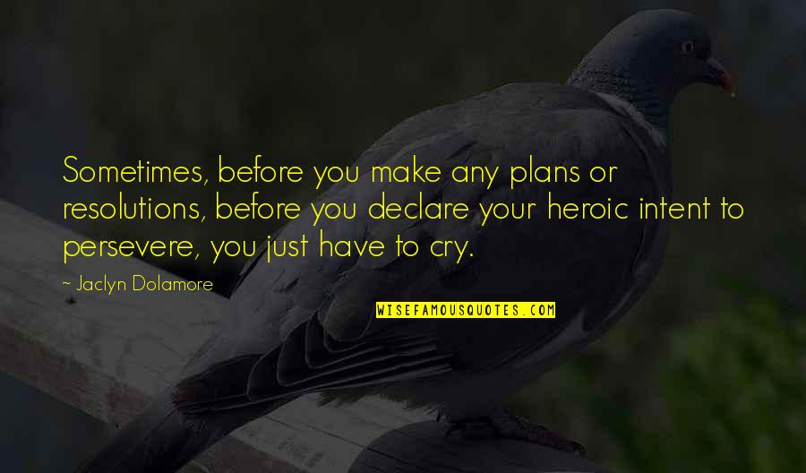 Sometimes You Cry Quotes By Jaclyn Dolamore: Sometimes, before you make any plans or resolutions,