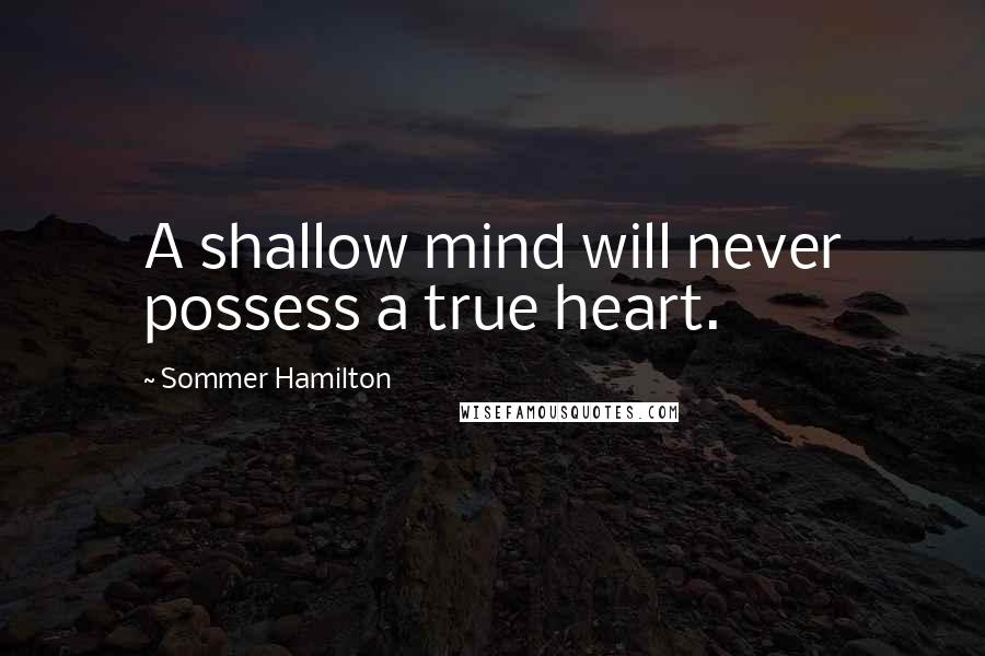 Sommer Hamilton quotes: A shallow mind will never possess a true heart.