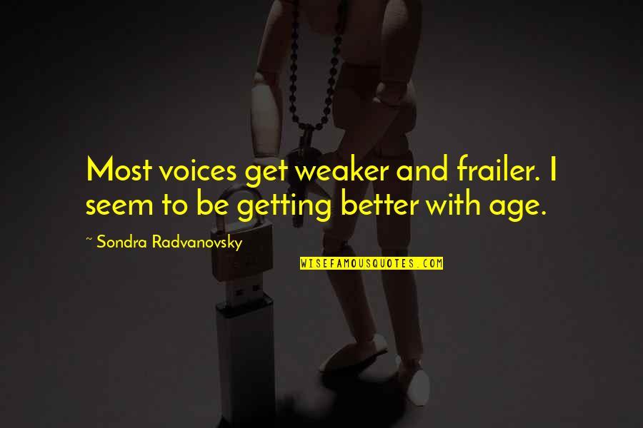 Sondra Quotes By Sondra Radvanovsky: Most voices get weaker and frailer. I seem