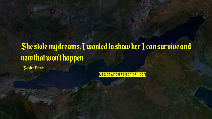 Sondra Quotes By Sondra Torres: She stole my dreams. I wanted to show