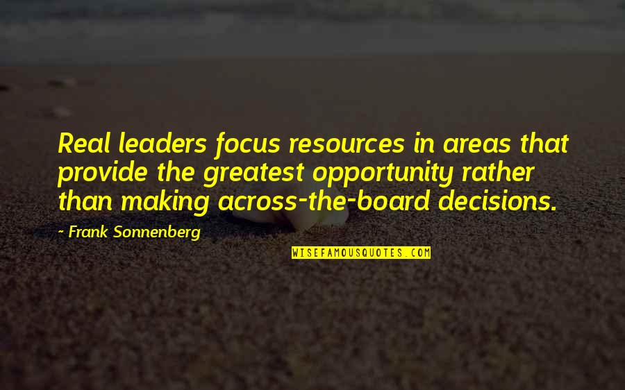 Sonnenberg Quotes By Frank Sonnenberg: Real leaders focus resources in areas that provide